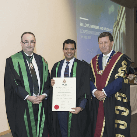 Dr. Arshin receiving certificate from RCSI